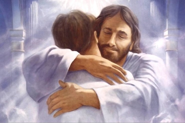 Jesus Hugging Man